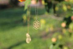 Flower of Life Gold necklace Sacred Geometry by TzufitMoshel