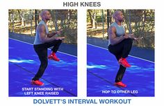 High Knees: 1) Start standing with left knee raised (to waist level, elbows bent at 90 degrees, forearms straight out). 2) Hop to other leg (left leg coming down to ground, right knee up and bent at 90 degrees).  //  #BiggestLoser #IntervalWorkout
