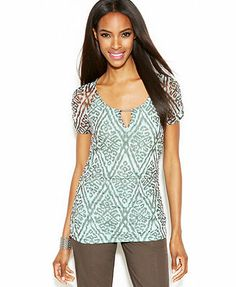 INC International Concepts Ruched-Sleeve Printed Keyhole Top