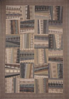 Patchwork Quilt brown and grey Japanese A Bit Askew throw image 0 Japanese Patchwork, Japanese Quilts, Plaid Quilt, Grey Quilt, Strip Quilts, Scrappy Quilts, Low Volume Quilt, Asian Quilts, Neutral Quilt