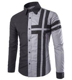 Grey Trendy Color Block Long Sleeve Men's Shirt