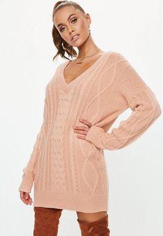 fce0373d07d Missguided - Pink V Neck Cable Knit Jumper Dress