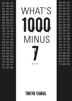What's 1000 minus 7...? Tokyo Ghoul Fanposter © Cindy Wentzel