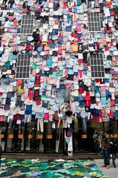 Clothes covered building | Marks & Spencer shwopping campaign