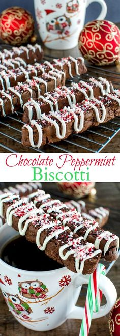 This Chocolate Peppermint Biscotti is the perfect cookie for dunking in coffee. These crunchy, festive cookies also make beautiful Christmas gifts! Köstliche Desserts, Holiday Desserts, Holiday Cookies, Holiday Baking, Holiday Treats, Delicious Desserts, Dessert Recipes, Easter Desserts, Jewish Desserts
