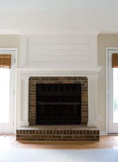 """We worked on a budget-friendly fireplace makeover at Kevin's brother's house a few weeks ago, and we're so happy with how it helped to update their existing brick fireplace. We've been slowly helping Kerry and Robyn redo their living room over the past few months, and it has been SO MUCH FUN """"sneaking"""" into their …"""