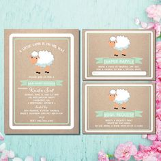Little Lamb Baby Shower Invitation | Sheep Baby Shower Invitation | Lullaby Sheep Baby Shower Invitation | Baby Sheep Baby Shower Invitation  This listing is for a PRINTABLE one-sided Baby Shower invitation, a book raffle card and diaper request card for you to print at home or print through a print shop. This invite comes as 5x7 and the 2 insert cards come as 5x3.5.  *Let me know if you want a different color font, I can change it for you at no additional charge.  Everything is sent…