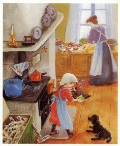 Like all Ilon Wikland's illustrations Swedish Christmas, Scandinavian Christmas, Xmas, Children's Book Illustration, Illustrations, Old Pictures, Childrens Books, Art For Kids, Doodle Art
