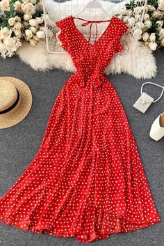 Red Polka Dot V Neck French Flounces Maxi Dress – ModeShe.com #dresses #PolkaDot #long Casual Dresses For Women, Sexy Dresses, Formal Dresses, Dress Casual, Trendy Fashion, Fashion News, Online Dress Shopping, Dress Online, Dresses To Wear To A Wedding