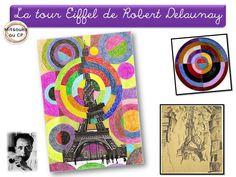 Paris et la tour Eiffel Robert Delaunay, Sonia Delaunay, Tour Eiffel Delaunay, Teaching French, Teaching Art, Art Lessons For Kids, Art For Kids, Ecole Art, Op Art