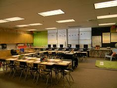 "This is what Ms. Teal's classroom layout probably looks like. The desks are in a ""u"" shape which encourages students to work independently when reading and writing."