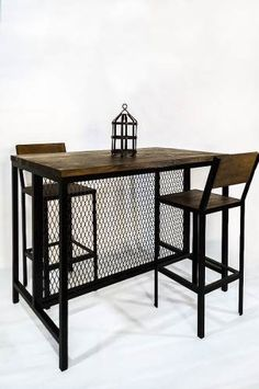 Barra Isla Estilo Industrial Hierro Y Madera Steel Furniture, My Furniture, Furniture Design, Outdoor Furniture, Industrial Living, Industrial Furniture, Industrial Style, Home Decor Styles, Diy Home Decor