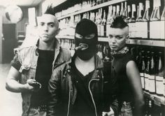 'Nother example of 80's punk. Acid-wash jeans and vests, mohawks, black leather jackets, anything with studs. Again, BLACK.