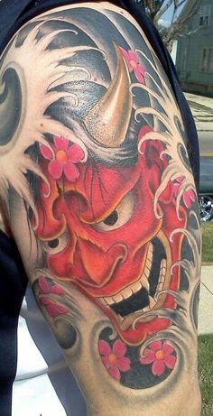 My Japanese hannya mask tattoo. Done by Kevin Rotramel at Truth and Triumph in Dayton, Ohio. Japanese Hannya Mask, Japanese Demon Mask, Japanese Mask Tattoo, Japanese Tattoo Designs, Japanese Sleeve Tattoos, Japanese Tiger, Oni Tattoo, Hanya Tattoo, Demon Tattoo