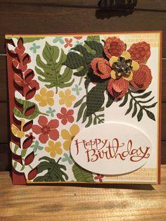 Stampin Up Botanical Blooms Botanical Gardens Designer Paper Framelit Dies Jewels Cajun Birthday Card Square Card Sassy Salutations
