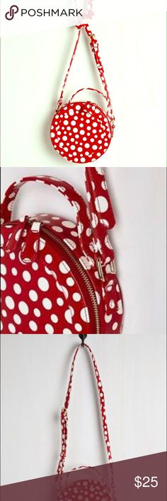 ModCloth A Dot on My Mind Bag Retro-cute circular crossbody bag in red with white polka dots. Label is Nila Anthony. Brand new but did not come with tags. No longer available on the website! ModCloth Bags Crossbody Bags