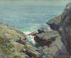 """""""A Bit of Coast--Monhegan Island, Maine,"""" Frank Alfred Bicknell, oil on board, 8 x 10"""", private collection."""