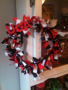 University of Georgia Bulldog Ribbon Wreath  by LuckyGirlOriginals. , via Etsy.