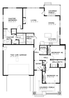 Bungalow Style House Plan - 3 Beds 2 Baths 1792 Sq/Ft Plan #434-7 Floor Plan - Main Floor Plan - Houseplans.com