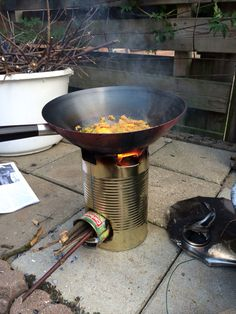 It takes just 4 twigs to heat up tonights (small) diner. Love my rocket stove!