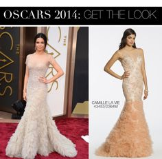 Jenna Dewan Tatum Oscar 2014 Dress vs Camille La Vie Lace Body Shirred Flounce Prom Dress