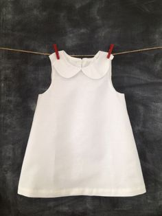 Girls Linen Dress in Classic A-line Style with Peter Pan Collar, Blessing Day Dress, Christening Dress, Baptism Dress, Wedding Flower Girl by BabySuzannaJohanna on Etsy https://www.etsy.com/listing/199334189/girls-linen-dress-in-classic-a-line