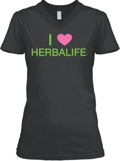 "This is a premium quality women's cut v-neck t-shirt. It reads ""I love Herbalife"" on the front and ""Want energy now? This shirt available in dark grey heather, leaf green, pink, white and black! Herbalife Plan, Herbalife Recipes, Herbalife Clothing, Mommy Workout, Get Skinny, Shirt Outfit, Dark Grey, Pink White, V Neck T Shirt"