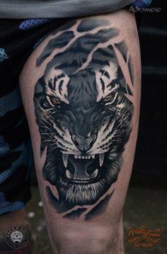 5 Most Popular Tiger Tattoos - Tattoo Designs Tiger Face Tattoo, Tiger Tattoo Sleeve, Tiger Tattoo Design, Sleeve Tattoos, Tattoo Designs, White Tiger Tattoo, Head Tattoos, Body Art Tattoos, Tattoo Ink