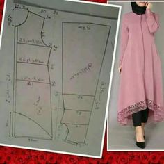 Dress pattern basic (with modellistepattern poladress jualpola jasapola polaonline jasapolaonline polaonlineshop polabaju jualpoladress jasapembuatanpola gamisdress dresspattern gamispattern polagamis Dress Sewing Patterns, Blouse Patterns, Clothing Patterns, Blouse Designs, Motif Abaya, Sewing Clothes, Diy Clothes, Kaftan Pattern, Stitching Dresses
