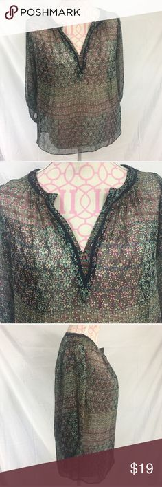 🎀3 For $30 Anthropologie  Sheer Top Size Small Anthropologie printed top. Sheer. Excellent condition. Size small. Pit to pit approximately 20 inches. 100% polyester. Anthropologie Tops Blouses