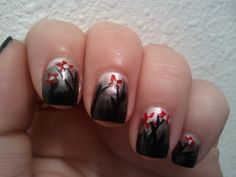 Robin Moses Inspired - Dark Gradient w/ red flowers