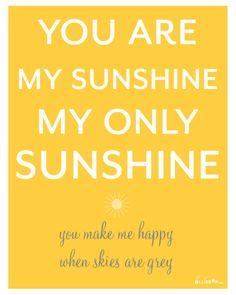 "Printable ""You Are My Sunshine"" Poster and Cards {Free Printables} via TipJunkie.com"