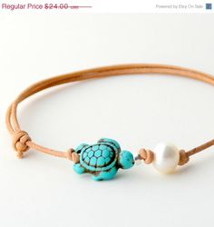 Adjustable Turtle Surfer Jewelry - Anklet - Ideas of Anklet - Freshwater Pearl & turtle leather anklet (adjustable) -bet I could turn this into a DIY Anklet Jewelry, Anklet Bracelet, Body Jewelry, Fine Jewelry, Jewelry Making, Jewelry Stand, Jewelry Rings, Jewelry Holder, Women's Anklets
