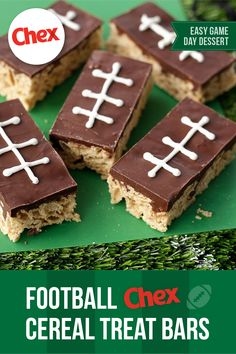 Put your spin on game day dessert. Our Football Chex™ Cereal Treat Bars take just 5 simple ingredients to make and they're the perfect snack for kids and adults alike. Cereal Treats, Chex Cereal, Rice Cereal, Cereal Bars, Dessert Simple, Yummy Treats, Sweet Treats, Yummy Food, Delicious Recipes
