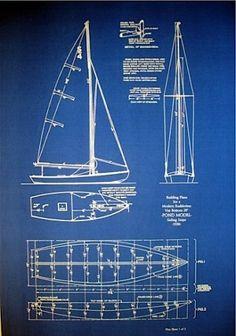 Vintage Pond Model 1930 Sailboat Blueprint Plans 2 pgs 20x30 165 | eBay