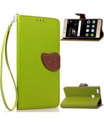 Huawei P9 Lite Portemonnee Hoesje Leaf Groen