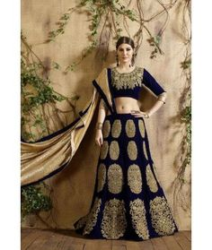 Blue designer pakistani fashion lehenga choli in velvet