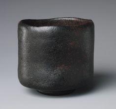 Tea bowl, ca. 1575  Tanaka Chôjirô (?), (Japanese, 1516–?1592)  Japan  Rough clay covered with a dull black glaze; three spur marks of iron supports (Raku ware)