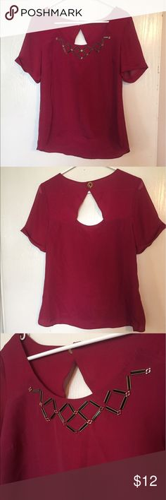 BCBGenerstion beautiful deep fuchsia,  dressy top Super cool cuffed sleeve dress top. Has a beautiful closure in back and sweet beaded neck/ chest line. This top is causal with jeans and fancy with a black skirt or work pants. Brand new without tags. BCBGeneration Tops