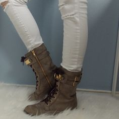 Boots Size 7.5 Combat Booties with Buckles & Zippers Shoes Ankle Boots & Booties