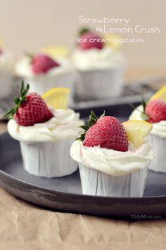 Strawberry & Lemon Ice Cream Cupcakes recipe at TidyMom.net