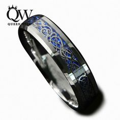 Queenwish 6mm Blue Silvering Celtic Dragon Tungsten Carbide Ring Mens Jewelry Wedding Band Size 5-13
