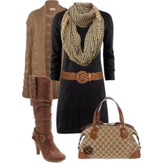 A fashion look from October 2012 featuring H&M dresses, Miss Selfridge cardigans and Charlotte Russe boots. Browse and shop related looks.