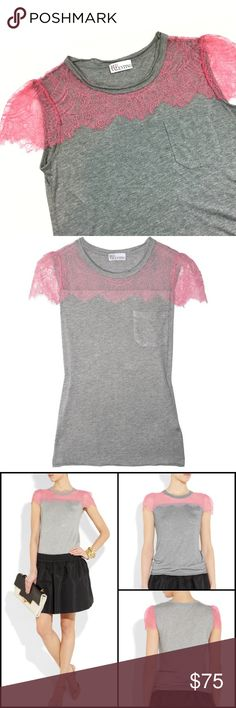 """RED Valentino Lace Trimmed Modal T-Shirt RED Valentino Modal Lace Trimmed T-Shirt. Size Small. Size is only on care tag, see photo 6. Like new condition. Ultra soft. Delicate feminine lace upgrades a basic tee. Pink sheer lace panel across neck and shoulders with scalloped eyelash trims, breast pocket, double-layered raw trims. Sold Out on Net a Porter. Bust: approx. 33""""; Length: approx. 24.5"""" RED Valentino Tops Tees - Short Sleeve"""