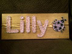 Name/Ladybug String Art- Order from KiwiStrings on Etsy! ( www.KiwiStrings.etsy.com )
