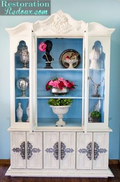 Ivory and Blue Painted China Hutch - Restoration Redoux