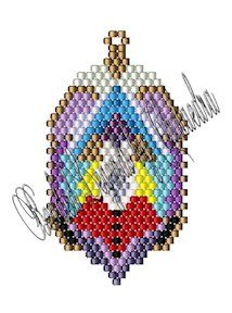 """Meditation Pattern.   Materials listed for the Meditation design are for each motif beaded. Meditation measures approximately 1.2"""" x 2.12"""" as shown if made with Delica 11 beads, but it is suitable for beading in any size seed or Delica bead and can be made in either brick stitch or Peyote. Add the six beads at the top right as a hanging loop, reinforcing the loop for stability. Design would make good earrings, charms, decorations, suncatchers or other ornaments. Adding dangles is optional"""