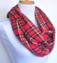 Infinity Scarf in Red, Blue and Yellow Tartan Plaid Flannel, Circle Scarf, Eternity Scarf, Loop Scarf, Winter Scarf $22.00