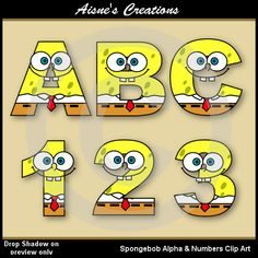 This pack contains a set of Spongebob clip art alphabet letters uppercase A-Z and a set of numbers 0-9 as shown in the preview. All images are in