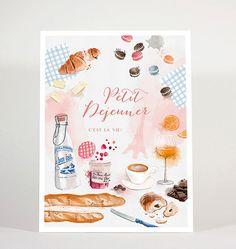 Petit-déjeuner français French breakfast  art print by matejakovac